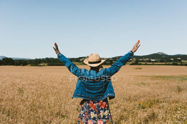 Vue arrière de la femme méconnaissable en chapeau debout sur le champ de blé avec les bras tendus le jour ensoleillé — Photo de stock