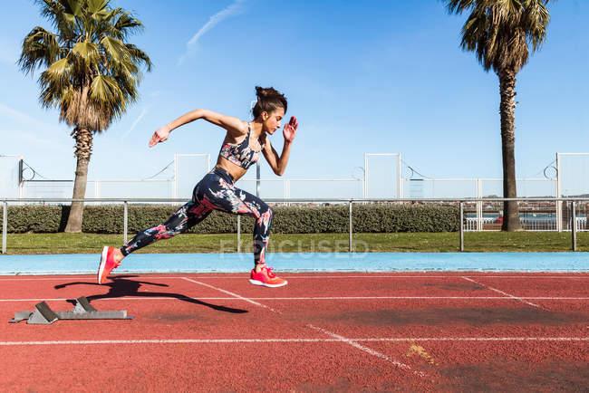 Сильні спортсменки в спортивному одязі швидко працює проти синього неба в сонячний день на стадіоні — стокове фото