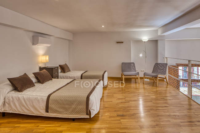 Interior of empty bedroom in modern style with big balcony in daylight — Stock Photo