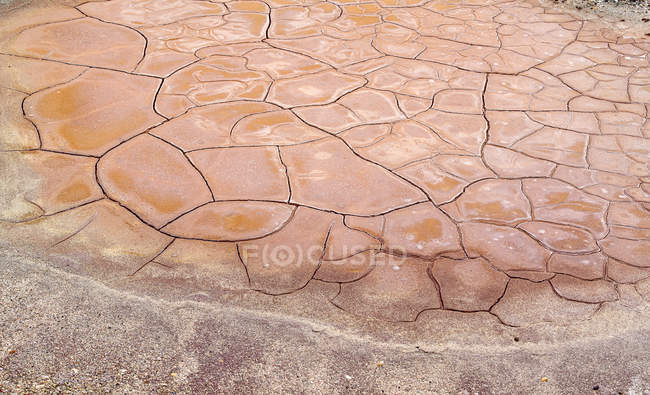 From above dry brown rock surface in cracks — Stock Photo