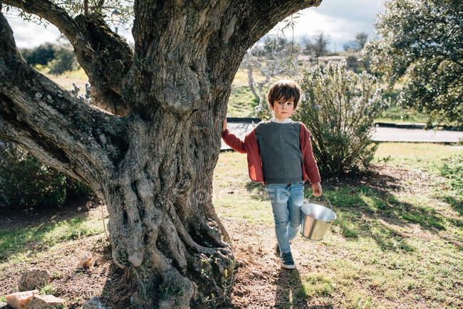 Adorable petit garçon portant un petit seau en métal tout en marchant sur la route dans une campagne ensoleillée — Photo de stock