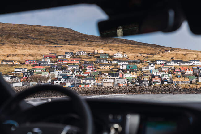 From car view of a small colorful village in Faroe Islands — Stock Photo