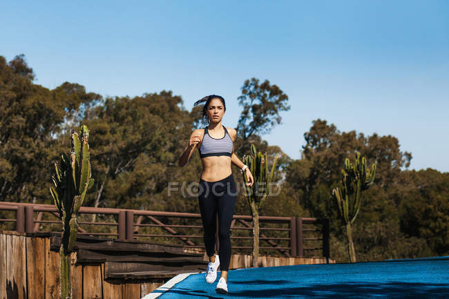 Attractive fit woman in sportswear with ponytail running on blue sky background — Stock Photo