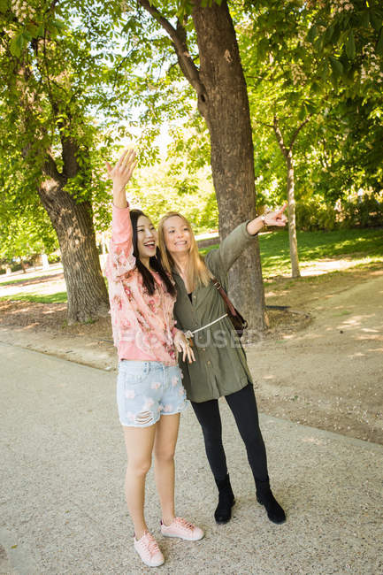 Взволнованные многорасовые женщины показывают и машут рукой, стоя в парке в солнечный день — стоковое фото
