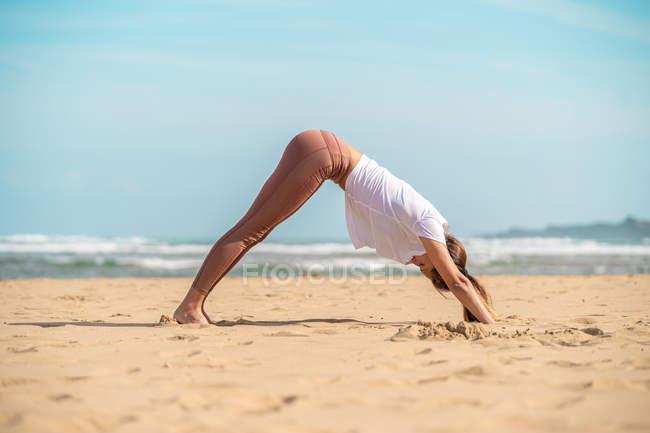 Молодая женщина стоящая в положении вниз лицом йоги собаки на песчаном побережье в солнечный день — стоковое фото