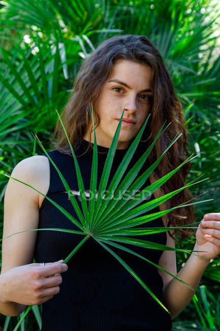 Ritratto di giovane donna bruna in cespugli tropicali tenendo foglia di palma — Foto stock