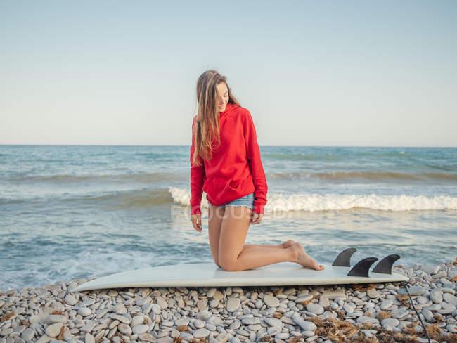 Приваблива усміхнена довга жінка з довгим волоссям у червоному капюшоні, яка сидить на дошці на кам