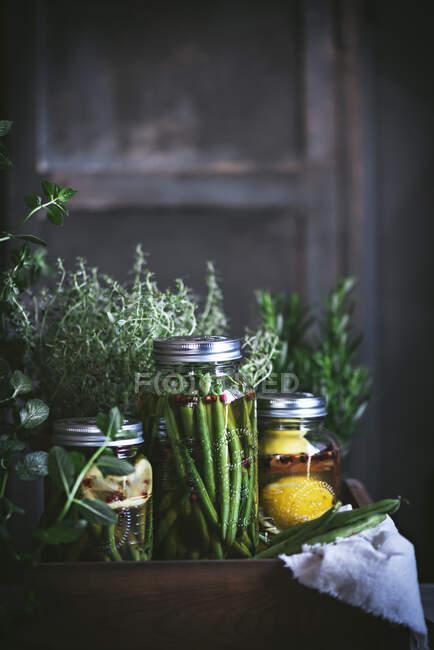 Composition de plantes en pot, citrons et bocal en verre avec haricots verts crus dans une boîte en bois — Photo de stock