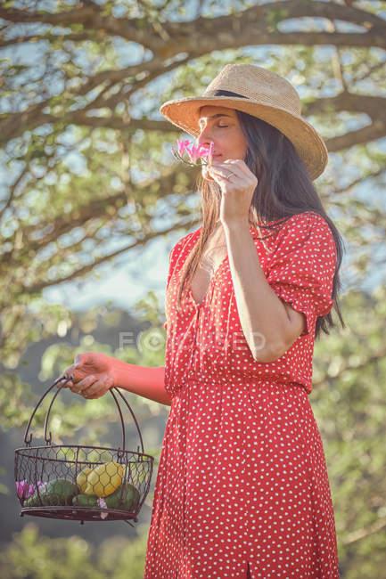 Barfuß junge attraktive Frau mit Hut und rotem Kleid, die im grünen Garten mit Obstkorb spaziert und eine frische Blume in der Hand hält — Stockfoto