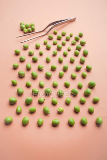 Conjunto de guisantes verdes frescos sobre fondo salmón - foto de stock