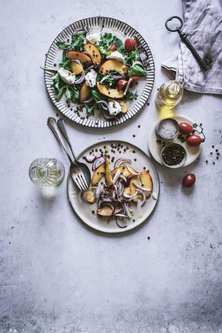 Platos de arriba con ensaladas gourmet hechas de duraznos, cebolla roja, queso, aceite y pimienta negra sobre la mesa - foto de stock