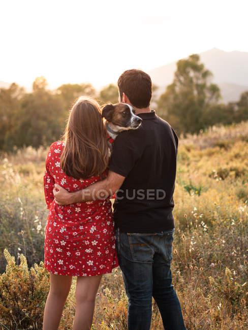 Обратный вид на неузнаваемую пару, держащую маленькую собаку среди высокой травы в сельской местности — стоковое фото