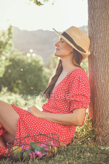 Side view of attractive woman in red dress with hat and basket of fruits sitting in green garden in summer day — Stock Photo