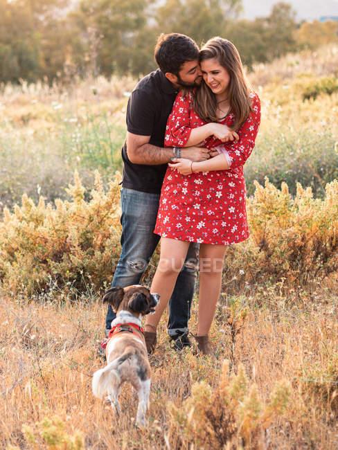 Joven feliz pareja abrazo y divertirse con poco perro entre la hierba alta en el campo - foto de stock