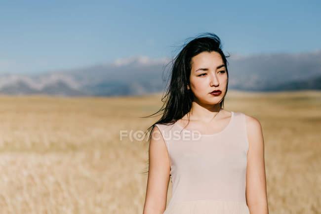 Красивая азиатская женщина смотрит в сторону, стоя на размытом фоне луга в ветреный день на природе — стоковое фото