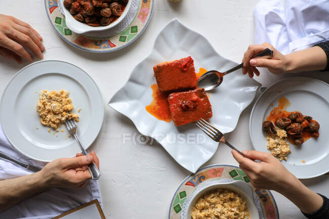 Couple having delicious meal with seafood — Stock Photo