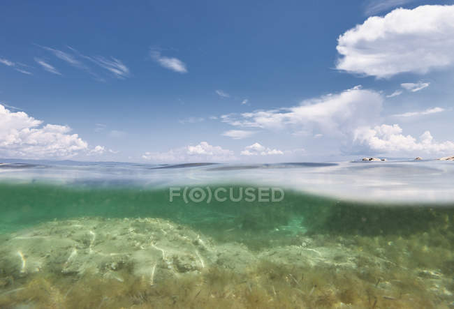 Picturesque view of sea bottom on sunny summer day in Halkidiki, Greece — стокове фото