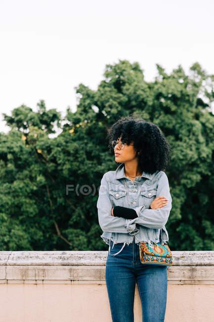 Молода афроамериканська жінка в джинсах і урожаї на кам