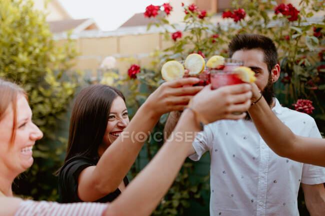 Grupo de amigos alegres batendo copos na festa — Fotografia de Stock