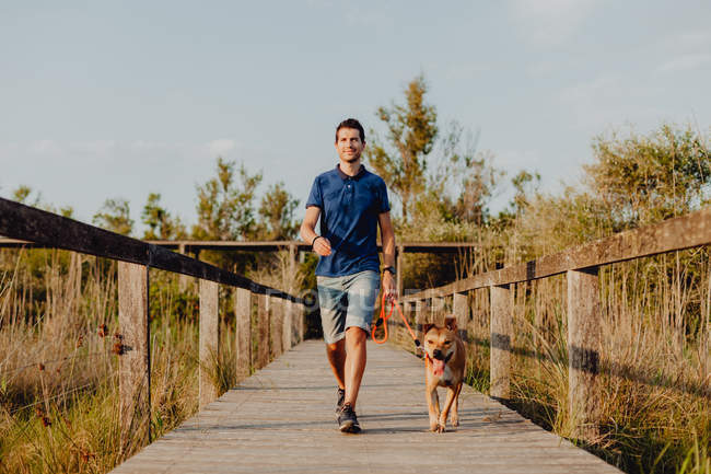 Happy mid adult man walking with dog along countryside — Stock Photo