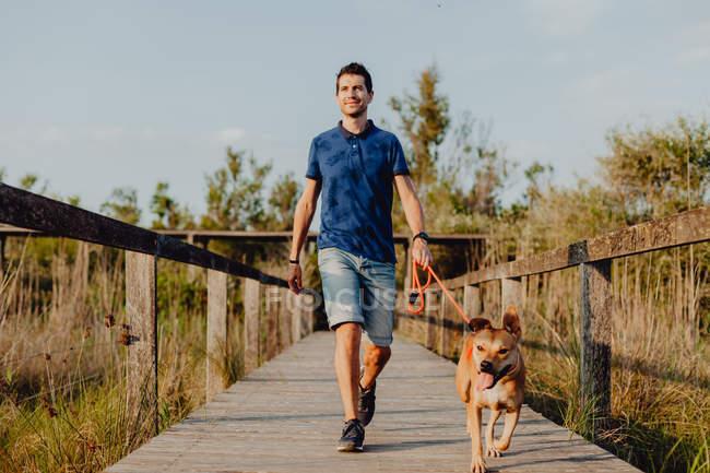 Heureux mi-adulte homme marchant avec chien le long de la campagne — Photo de stock