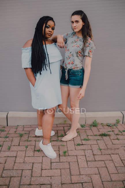 Молоді випадкові жінки сміються і обіймаються стоячи на стіні, дивлячись на камеру. — стокове фото