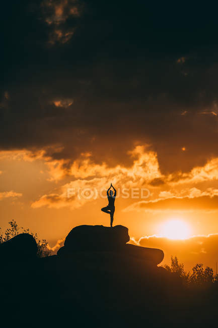 Silhouette di donna che fa yoga tree posa all'aperto al tramonto — Foto stock
