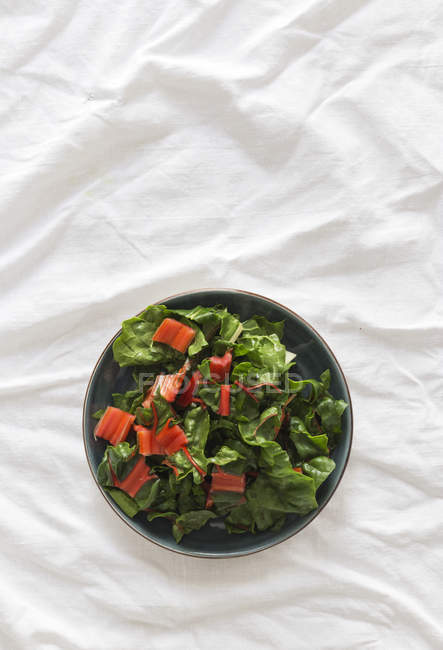 Bowl of healthy salad with fresh ripe chard on wrinkled white fabric — Stock Photo