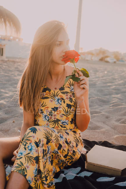 Charming thoughtful woman with rose in hand sitting and looking away alone in sunlight on seaside — Stock Photo