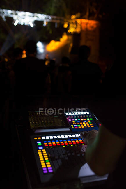 Soundboard mixer in a live event at night — Stock Photo