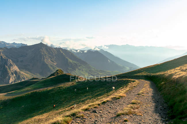 Dirt path extending inland to mossy mountains in foggy mist under cloudy sky — Stock Photo