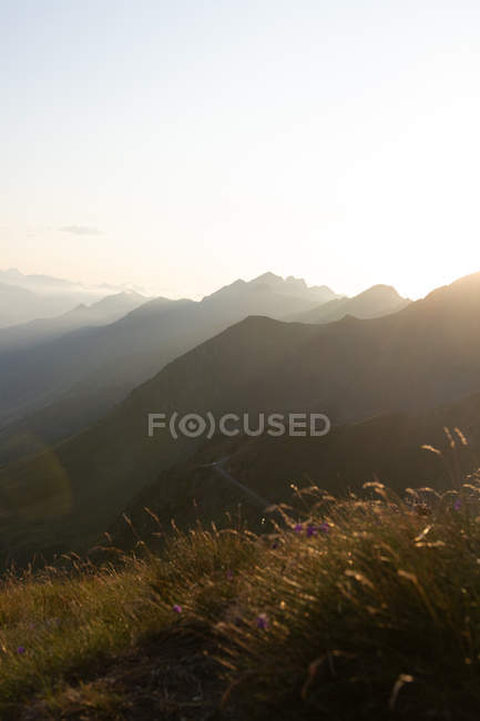 Foggy landscape of amazing mountains in sun light and path between in bright day — Stock Photo