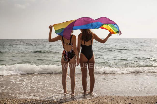 Rückansicht von lesbischem Paar am Strand mit bunter Flagge der LGBT-Bewegung während der Sommerferien — Stockfoto