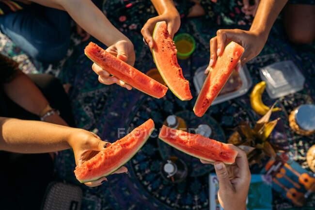Dettaglio di cinque pezzi di anguria insieme su una coperta da picnic — Foto stock