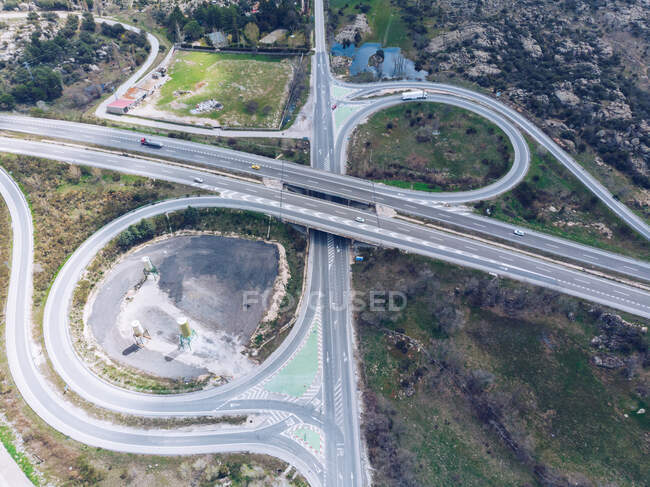 Urban road junction in suburb area — Stock Photo