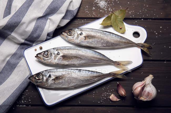 Fresh mackerel fish on cutting board ready to cook. Raw seafood — Stock Photo