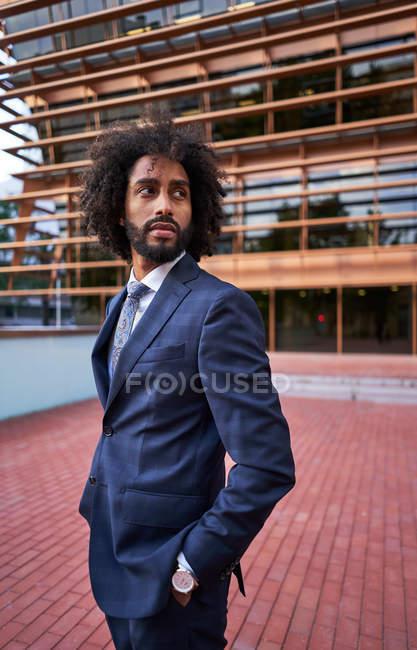 Вид сбоку серьезного африканского предпринимателя-американца в формальной одежде, отворачивающегося — стоковое фото