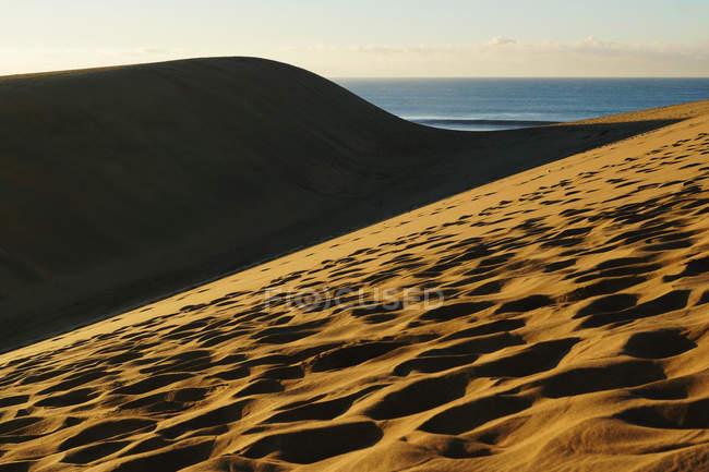 Песчаные дюны с траекториями солнечного света — стоковое фото