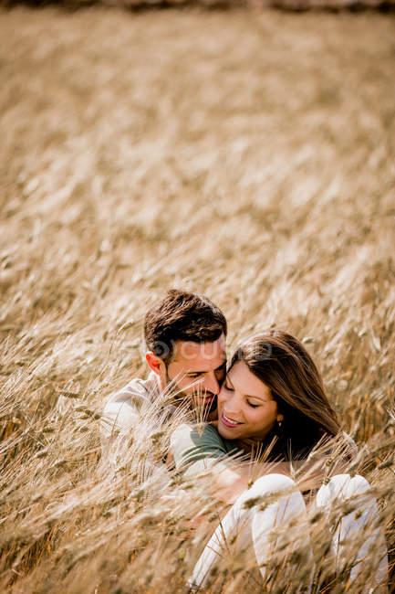 Любящими пшеничное поле — стоковое фото