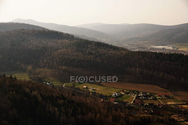Сверху густой темный лес вокруг маленькой деревушки с разноцветными домами и солнечными лучами в южной Польше в дневное время — стоковое фото