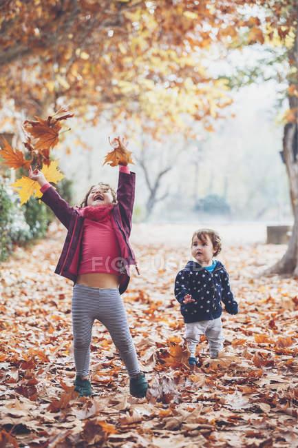 Bambine carine che raccolgono, esaminano e giocano con foglie d'acero cadute nel parco autunnale — Foto stock