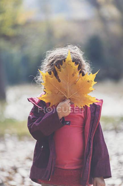 Niña en traje casual escondiendo la cara detrás de la hoja de arce amarillo mientras está de pie en el soleado día de otoño en el parque - foto de stock