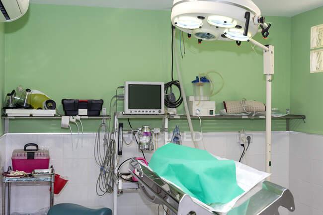 Gesichtsloses Haustier mit grünem Laken bedeckt auf dem Operationstisch im eingerichteten Operationssaal der Tierklinik — Stockfoto