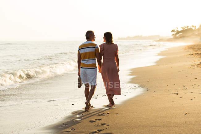 Задний вид босых мужчин и женщин, держащихся за руки и несущих обувь во время прогулки по песчаному пляжу — стоковое фото