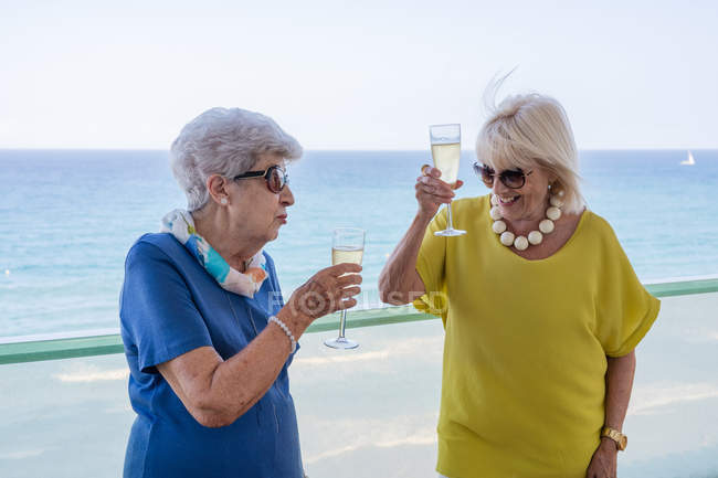 Happy women in elegant outfits saying toast and enjoying wine while standing on hotel balcony near sea on resort — Stock Photo