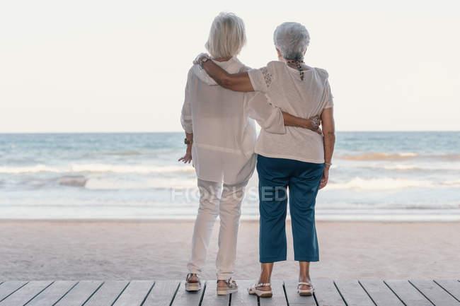 Rückansicht von Freundinnen, die sich am Strand umarmen und an Sommertagen aufs Meer blicken, während sie sich an alte Zeiten erinnern — Stockfoto