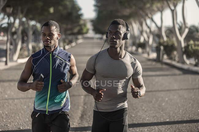 Уверенные взрослые афроамериканские бегуны в спортивной одежде и наушниках, бегущие и смотрящие на улицу в солнечный день на размытом фоне — стоковое фото
