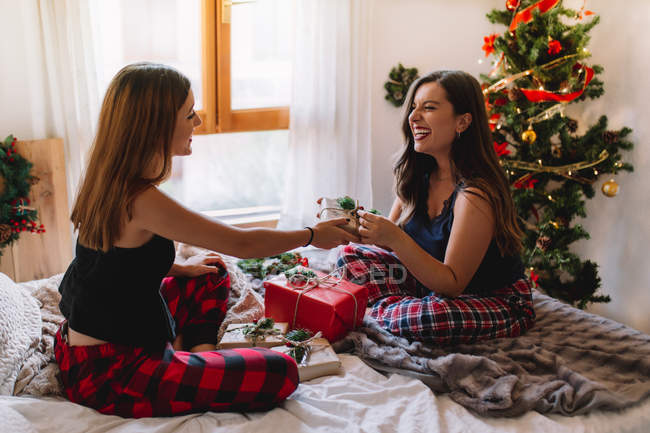 Beautiful happy female friends opening gifts in cozy bed near Christmas tree. — Stock Photo