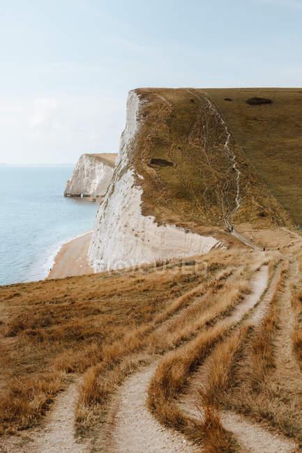 Pittoresca vista sul mare blu e rocce di gesso bianco con pista rotabile sull'erba vicino Durdle Door durante il giorno — Foto stock