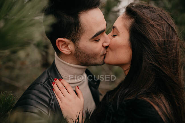 Боковой вид влюбленной пары с закрытыми глазами, улыбающейся, обнимающей и целующей друг друга вдоль хвойных деревьев днем в ветреную пасмурную погоду — стоковое фото